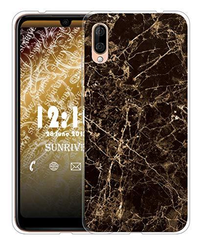 Sunrive Für Wiko View 3 Lite Hülle Silikon, Transparent Handyhülle Schutzhülle Etui Hülle für Wiko View 3 Lite(TPU Marmor Schwarzer)+Gratis Universal Eingabestift MEHRWEG