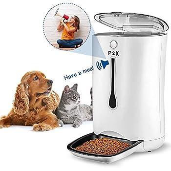 PUPPY KITTY Distributeur de Croquettes pour Chats et Chiens, 7L Distributeur Automatique de Nourriture Enregistrement Vocal Programmable 4 Repas par Jour (Blanc 6.5L)