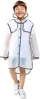 Kids Rain Coat, Clear Rain Poncho Wrinkle Free Slicker, Lightweight Rainwear for Boys Girls Age 3-12 4 Sizes