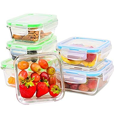 Elacra Glass Meal Prep Containers with Locking Lids [6-Piece] - Leakproof Glass Food Storage Containers for Kitchen Organization and Storage - Microwave, Freezer & Dishwasher Safe Lunch Containers!