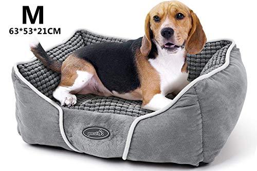 Pecute Hundebett Haustierbett für Katzen und Hunde Rechteck Ultra Weicher Plüsch luxuriöse Haustier-Schlafsack Maschine waschbar M (63 * 53 cm)