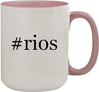 #rios - 15oz Hashtag Colored Inner & Handle Ceramic Coffee Mug, Pink