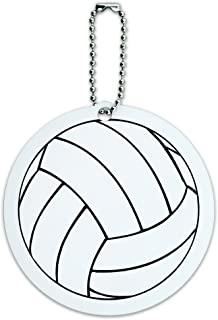 Cartoon Volleyball Round Luggage ID Tag Card Suitcase Carry-On