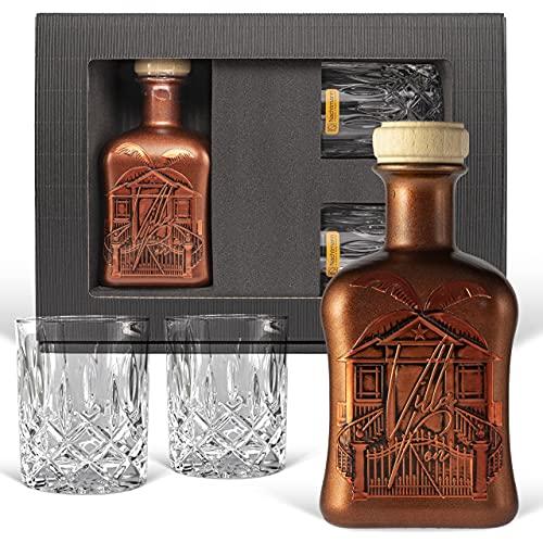 Villa Ron - Original Karibik Spiced Rum - Rarität aus Barbados (0.5 l)   Geschenk mit 2 geschliffenen Gläsern   Geschenk für Männer & Kenner! Original, Karibik, Rum, Genießer