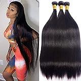 Brazilian Virgin Hair Straight 3Bundles 28 30 32inch Long Straight Human Hair Bundles Unprocessed Brazilian Straight Human Hair Extensions Natural Black Long Remy Human Hair Weave