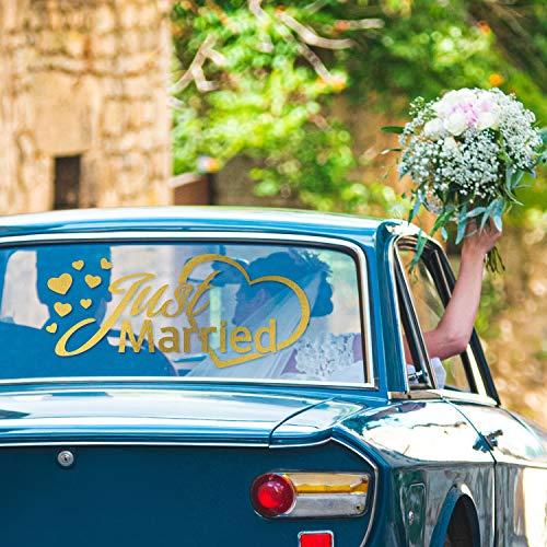 PrintAttack G001 | Just Married Autoaufkleber | Fenster Aufkleber | Auto & Foto-Requisit | Dekoration für Hochzeit & Auto (Gold, Mittel (40 cm x 20 cm))
