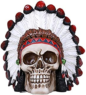 Pacific Giftware Indian Human Skull Statue Collectible Home Decor Resin