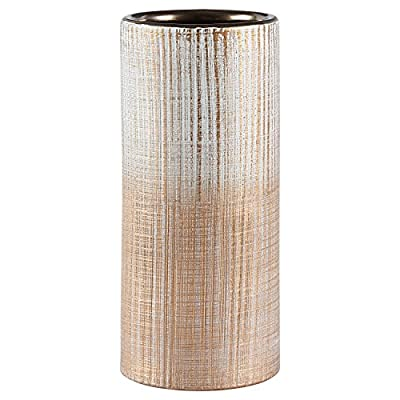 "Amazon Brand – Rivet Rustic Stoneware Indoor Outdoor Flower Plant Home Decor Cylinder Vase, 9""H, Bronze"