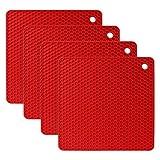 flintronic 4pcs Salvamanteles de Silicona, Sostenedor de Pote de Silicona Estera Antideslizante, Resistente al Calor, para Aislamiento, Asar, Hornear - Plaza, Rojo