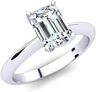 JewelsForum 1 Carat Emerald Cut Diamond Engagement Ring for Her 14K White Gold Hallmarked (HI Color I1-I2 Clarity