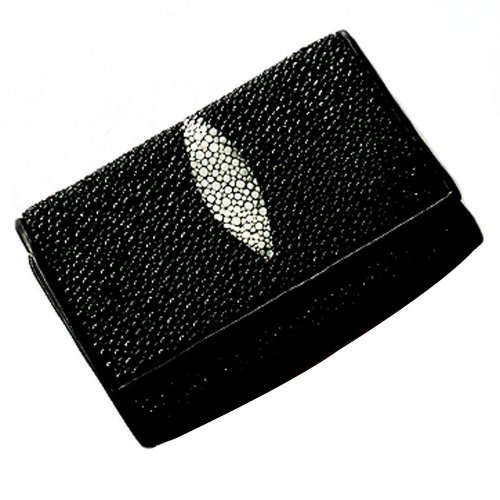 Genuine Stingray Leather Tri-Fold Keyring (6 hooks) Wallet/Black with white pearl