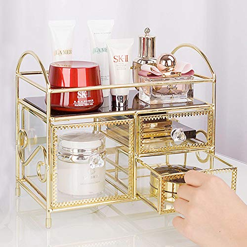 Kcakek Simple Perfume opslag Rack Thuis Multi-layer Finishing Rack Portable kaptafel Cosmetische Storage In Bedroom Layered Cosmetische Storage Box Simple Dustproof Storage Box