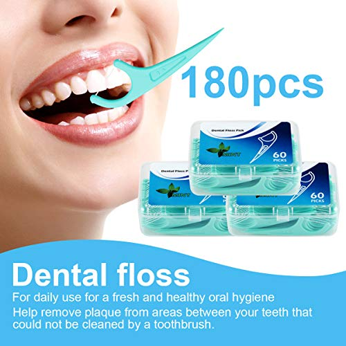 Hilo Dental 180 Piezas, Palillos de Hilo Dental Plástico, Hilo Dental Menta Fresca para Interdental Oral Limpieza - Floss Sticks - 60pcs / Paquete