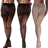 SATINIOR 3 Paar Metallic Strumpfhose Damen Shimmer Strumpfhose Glänzende elastische Strumpfhose mit Hoher Taille (Schwarzgoldgarn, Schwarzsilber, Grausilber)