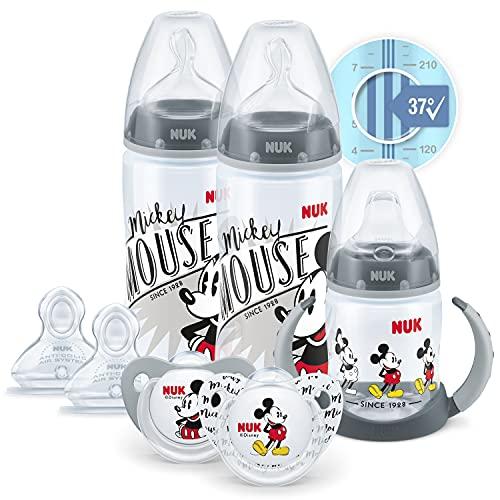 NUK Disney First Choice+ First Years Set | 6-18 Monate | Temperaturkontrolle | 2 x 300ml Flaschen | 1 x Lernbecher | 2 x Schnuller | 2 Sauger | Anti-Colic Vent | BPA frei | Mickey Mouse | 7 Stück