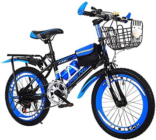 Bicicletas de montaña para niños de 20/22/24 pulgadas, bicicleta de montaña de 7 velocidades para niños y niñas, bicicletas de carretera para niños al aire libre con asiento trasero y canasta, opcio