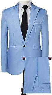 PEATAO Men Suits Pants Set Slim Fit Casual One Button Blazer Trousers for Wedding Suits