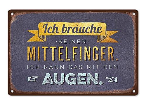 Grafik Werkstatt Wand-Schild | Vintage-Art |Ich Brauche keinen Mittelfinger. Ich kann das mit den Augen | Retro | Nostalgic Deko | Blechschild, Metall, uni, 30 x 20 cm
