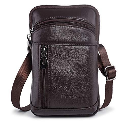Hengwin Leather Crossbody Shoulder Bags Men Belt Clip Phone Holsters Case Belt Loop Pouch Waist Bag Pack for iPhone 11 Pro Max Xs Max 8 7 6s Plus Samsung Galaxy Note 10 9 8 5 S20 S9 S8 Plus (Coffee)