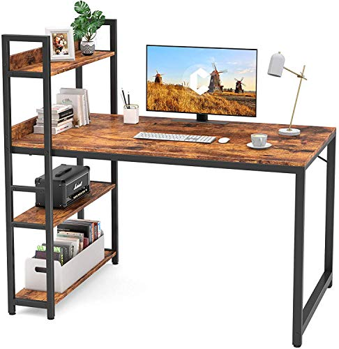 CubiCubi Computer Desk 47 inch with Storage Shelves Study Writing Table for Home Office,Modern Simple Style, Rustic Brown
