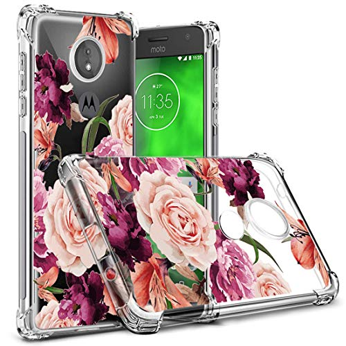 Moto G7 Power Case,Moto G7 Supra Case XT1955-2 Flower Floral Osophter Shock-Absorption Flexible TPU Rubber Soft Cell Phone Cover for Motorola Moto G7 Power/Supra(Purple Flower