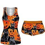 Eternali Halloween Traingsanzug Damen Crop Tops Shorts 2-teilige Jogginganzug Hoher Taille Leggings...