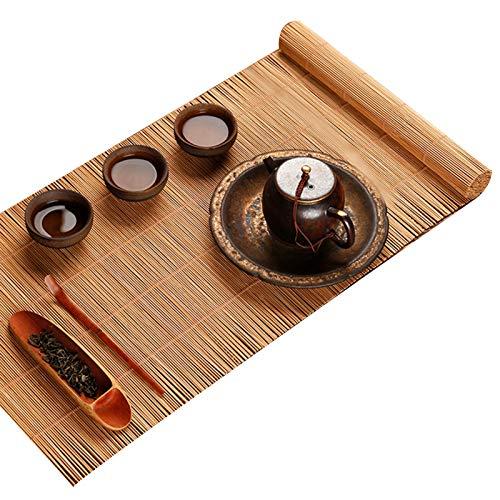 Camino De Mesa De Bambú Simple, Tapete De Té Original Tejido A Mano Natural, Tapete De Mesa De Comedor De Cocina Antideslizante con Aislamiento Térmico, Límpielo(Size:25×150cm)