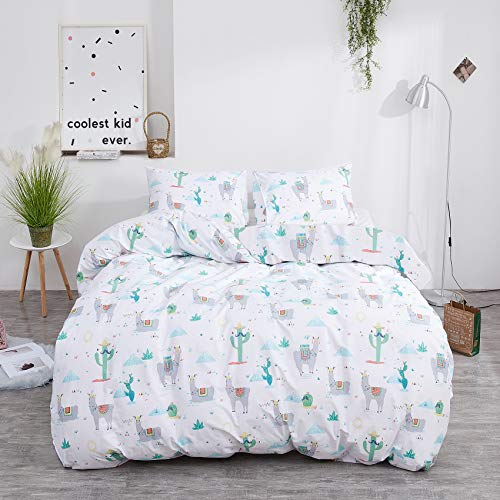 Jumeey Toddler Alpaca Duvet Cover Twin Size Llama Bedding for Girls Boys Cartoon Green Cactus Bedding Duvet Cover Kids Teens Cotton Lamb Bedding Cute 3 Piece Animal Patterned Duvet Cover Bed Set Twin