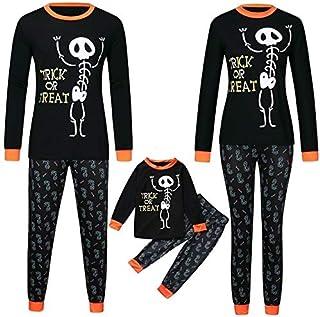SOHOH Pijama Navidad Familiar la Familia de Halloween Juego de Ropa Infantil Ropa niños niñas Letra de la impresión Top + Pants Ropa de Navidad Familia Conjuntos de Pijamas de la Familia
