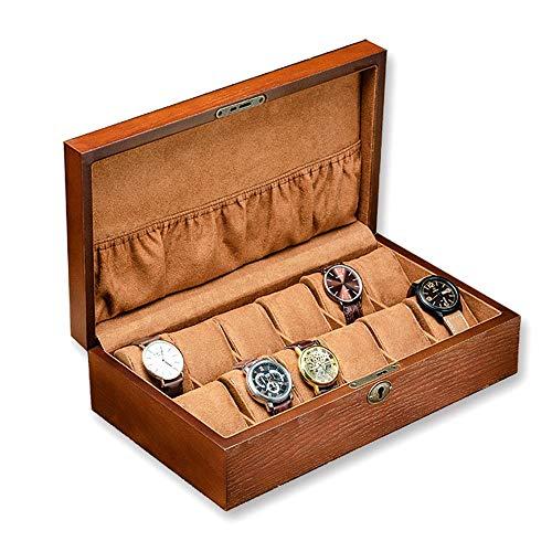 yaunli Caja de Reloj La Caja de Madera de Bloqueo del Reloj Acabado Cuadro de Reloj mecánico de exhibición del Reloj Caja Caja de Almacenamiento de Reloj (Color : Marrón, Size : One Size)