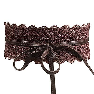 Women's Lace Waist Belt Bow Tie Wrap Around Soft Leather Boho Corset Fashion Elegant for Dresses (Coffee)