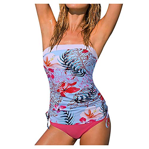 Women's Bandeau Blouson Tankini Top High Waisted Moderate Bottom Two Piece Swimsuits Tummy Control Bathing Suits