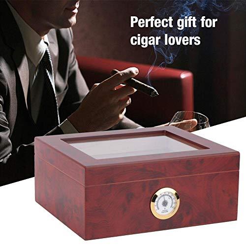 HEEPDD sigarendoos, 10,2 x 8,7 x 4,3 inch, elegante humidor doos van houtnerf met luchtbevochtiger, hygrometer, grote ruimte cederhout kastdoos voor 30-40 sigaren