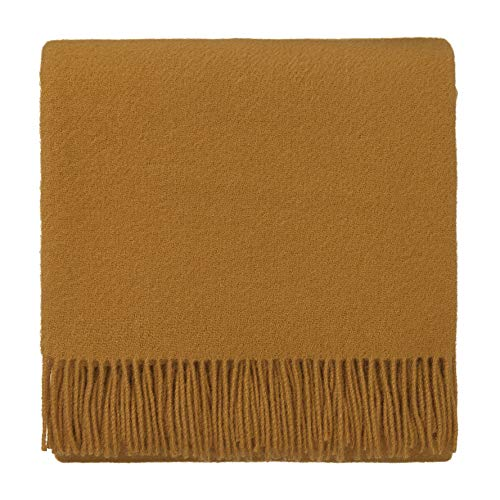 URBANARA 130x190 cm lamswollen deken 'Miramar' mosterdgeel - 100% puur lamswol - ideaal als sprei, plaid of knuffeldeken voor bank en bed - warm wollen deken met franjes