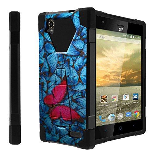 Untouchble Compatible with ZTE Warp Elite Case| N9518 Case [Traveler Series] Shell Defender Kickstand, Two Piece Hybrid Case - Blue Pink Butterfly