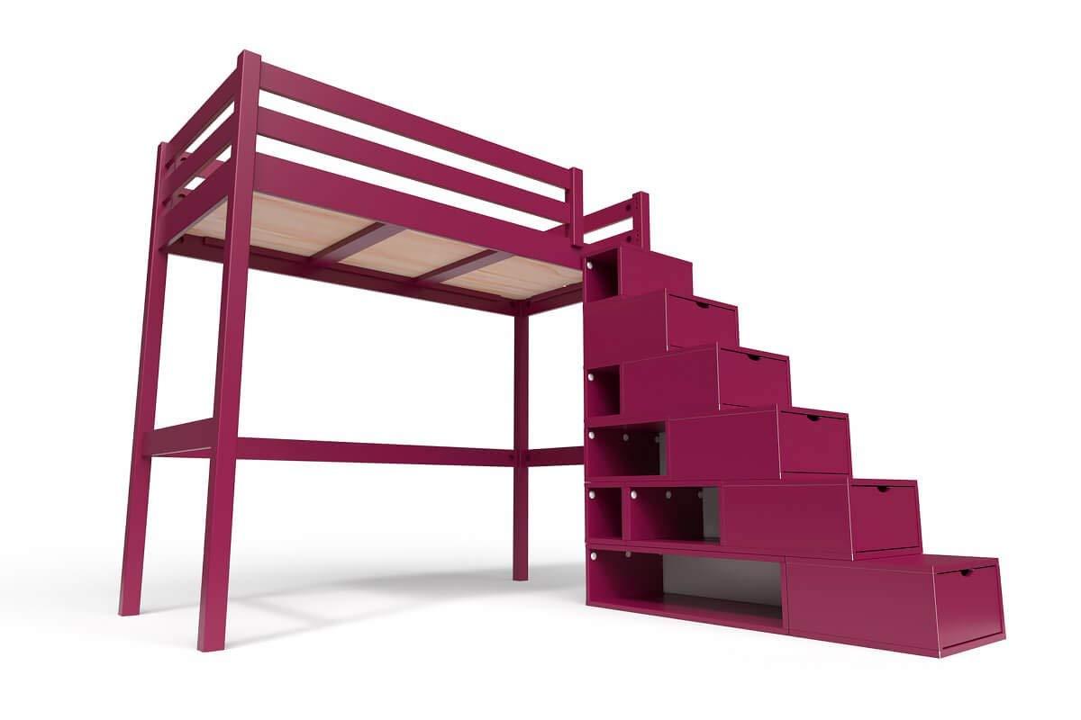 ABC MEUBLES - Cama Alta Sylvia con Escalera Cubo - Cube - Ciruela, 90x200: Amazon.es: Hogar