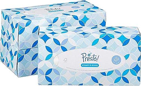 Marca Amazon - Presto! Pañuelos de 4 capas - 12 cajas (12 x 100 pañuelos)