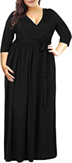 Women's 3/4 Sleeve Floral Print Plus Size Casual Party Maxi Dress