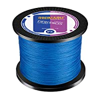 RIKIMARU Braided Fishing Line Abrasion Resistant Superline Zero Stretch&Low Memory Extra Thin Diameter Blue 327Yds,25LB