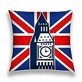 N/A Throw Pillow Cushion Cover, Modern Art Print, Decorative Square Accent Pillow Case, 18 X 18 Inches, London Big Ben British Union Jack Flag