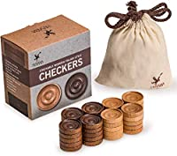 Husaria Wooden Checkers%カンマ% Italian Style Checker Pieces with Stackable Ridges and Drawstring Pouch%カンマ% 20 Pieces of Each Color [並行輸入品]