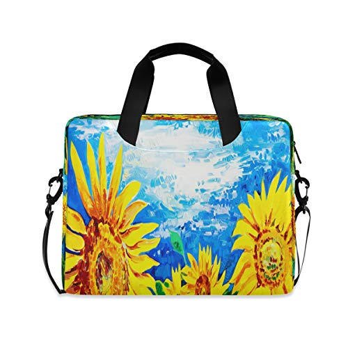 Laptop Bag Briefcase Shoulder Bag - Original Oil Painting Yellow Sunflowers 15.6 Inch Tote Bag Laptop Messenger Shoulder Bag Carrying Briefcase, Great to Work