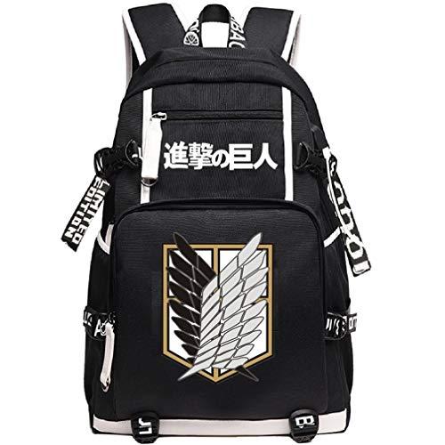 YOYOSHome Anime Attack on Titan Cosplay Rucksack Daypack Bookbag Laptop Rucksack Schultasche mit USB-Ladeanschluss