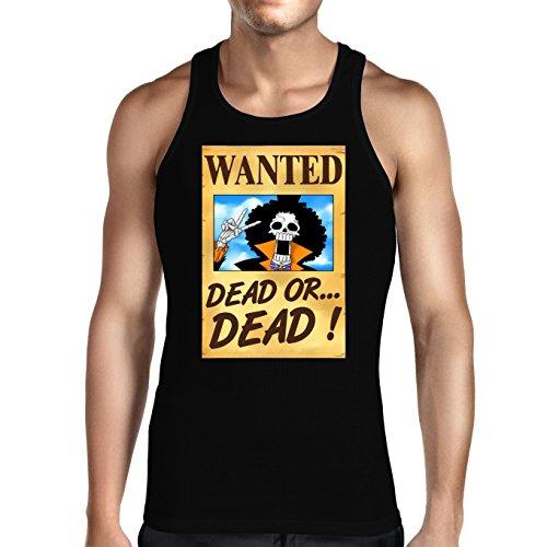 Débardeur Noir One Piece parodique Brook Wanted : Un Wanted Qui Tue !! YOHOHOHO !!! (Parodie One Piece)