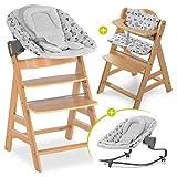 Hauck Alpha Plus Newborn Set Premium - Trona Madera evolutiva bebés con Hamaca recién nacidos y cojín de asiento en algodón - Altura regulable - gris Nordic Grey