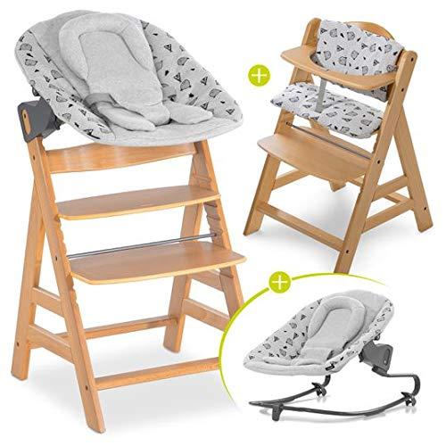 Hauck Alpha Plus Newborn Set mit Premium Bouncer - Baby Holz Hochstuhl ab Geburt mit Liegefunktion - extra flacher Aufsatz für Neugeborene & Baumwolle Sitzpolster - Natur Grau