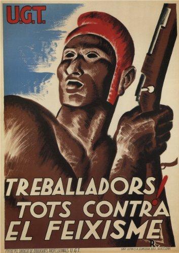 Vintage Guerra Civil Española 1936-39 Propaganda Trabajador! Todos contra el Fascismo Jackie Stoudemire -Viento Invisible
