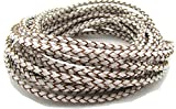 3mm Round Folded Genuine Leather Cords for Bracelet Necklace Jewelry Making 5 Meters (White)
