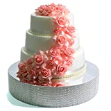 Cakebon Wedding Cake Stand (Silver - 12 inches - Round) - Gorgeous Cake Display Centrepiece for Wedding Cakes, Cupcakes and Desserts - Strong Lightweight Polystyrene Foam with Faux Rhinestones