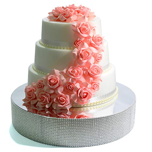 Cakebon Wedding Cake Stand - Gorgeous Cake Display Centrepiece for Wedding Cakes, Cupcakes and Desserts - Strong Lightweight Polystyrene Foam with Faux Rhinestones (Silver - 16 inches - Round)